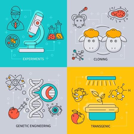 clonacion: icono de la biotecnolog�a establecido con descripciones de experimentos de clonaci�n ingenier�a gen�tica y la ilustraci�n del vector transg�nico