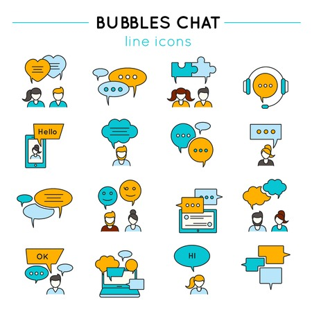 other: Chat line icon set people talk to each other or chatting by phone on the Internet vector illustration