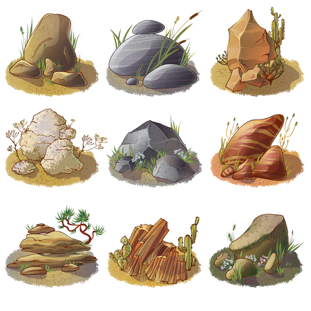 rock salt: Mineral stones on ground collection of different rocks in natural environment isolated vector illustration