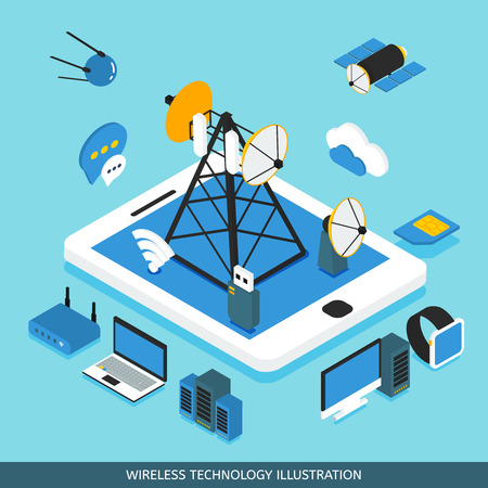 wireless: Wireless technology isometric design with tablet computer network tower  communication satellites gadgets on blue background vector illustration Illustration