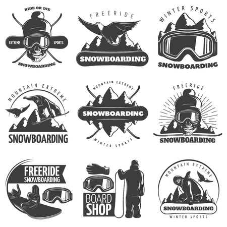 Black isolated snowboarding emblem set with titles ride or die free ride winter sports mountain extreme and board shop vector illustration