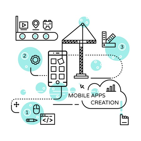api: Mobile apps creation linear design with modeling api user interface building process testing vector illustration