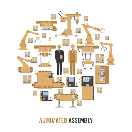 automated: Automated assembly colored round composition with isolated yellow icon set and title automated assembly vector illustration