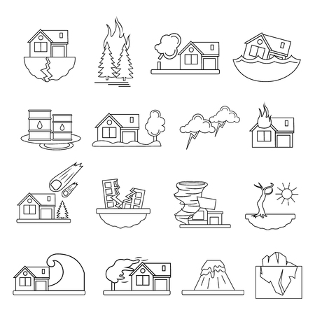 Colored and isolated disaster damage in linear style icon set emergencies occurring on the planet vector illustration Illustration