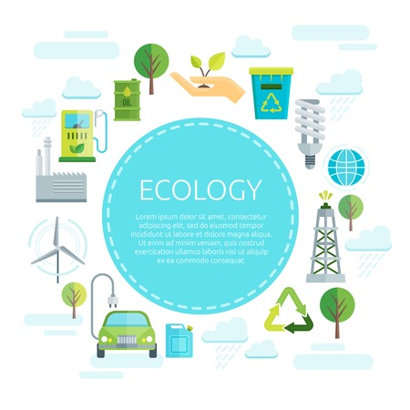 energy center: Earth ecology design with inscription on blue circle in center signs of green energy around vector illustration