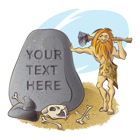 boulder: Stone age composition with bearded caveman near grey boulder with skull and bones of animal vector illustration Illustration