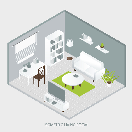 bookcase: Isometric home interior of sofa bookcase tables grey walls and floor green carpet window tv vector illustration