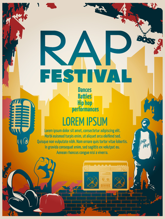 Farbige Hip-Hop-Poster oder Flyer mit Schlagzeile Rap Festival im modernen Stil Vektor-Illustration