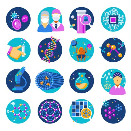 nanotechnology: Nanotechnology flat icons set with materials atoms chemistry robots dna electronics medicine microscope isolated vector illustration Illustration