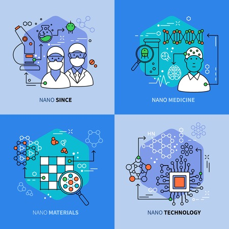 innovative: Nanotechnology linear compositions with scientific research and development innovative medicine materials electronics isolated vector illustration