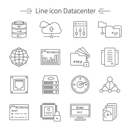 작업 벡터 일러스트 레이 션 설비 및 도구와 데이터 센터 라인 아이콘 세트 데이터 저장 및 처리 센터