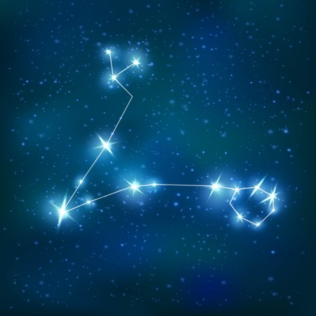 cluster: Pisces realistic zodiacal constellation with blue shiny polygonal structure on stars cluster background vector illustration