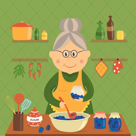 Housewife cooking jam design with plums in bowl and jars sugar utensils on wood table vector illustration Ilustrace