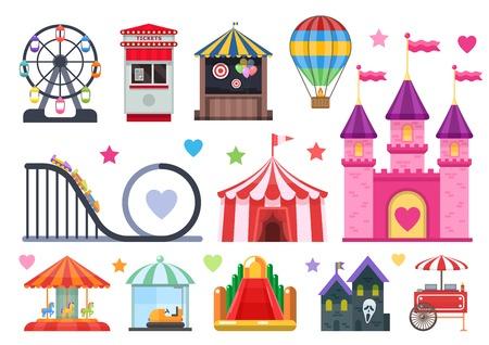 Pretpark kleurrijke objecten set met extreme en opblaasbare attracties circustent straat geïsoleerd voedsel vector illusration