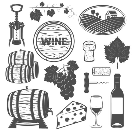 barrels set: Wine monochrome objects set with vine wooden barrels bunch of grapes cheese signboard corkscrews isolated vector illustration