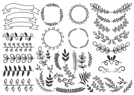 Hand drawn decorative elements set with floral ornaments wreaths leaf and swirls ribbons vignettes isolated vector illustration Illustration