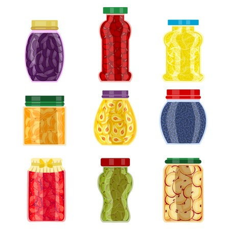 confiture: Homemade jam jars of different shape with seasonal fruit and colored lids isolated vector illustration