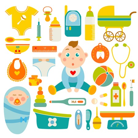 stethoscope boy: Baby health decorative icons set with newborn boy toys scales clothing carriage medical objects isolated vector illustration