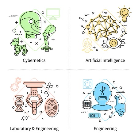 Artificial intelligence isolated colored icon set on cybernetics laboratory and engineering themes vector illustration