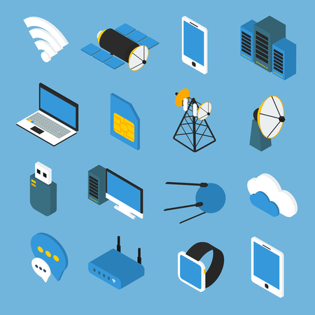 satellite transmitter: Wireless technology isometric icons with wifi sign router transmitters satellites gadgets on blue background isolated vector illustration Illustration