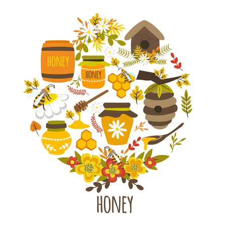 hives: Honey hand drawn round design with title bee products colorful leaves flower compositions hives isolated vector illustration Illustration
