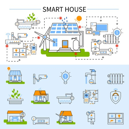 temperature controller: Smart house flat concept in linear style with technology colored and isolated icon set at the bottom vector illustration