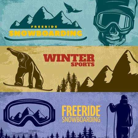 freeride: Three horizontal snowboarding banner set with freeride snowboarding winter sports descriptions vector illustration
