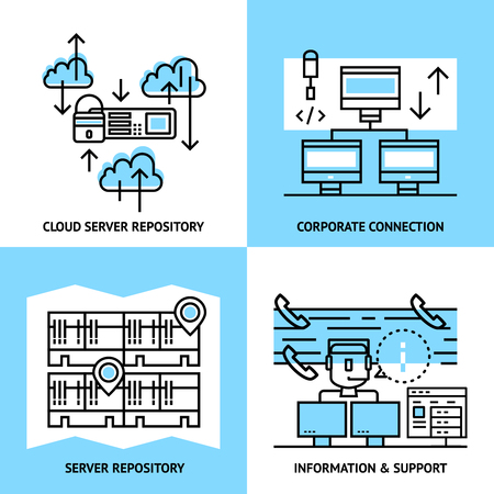 data warehouse: Datacenter linear compositions with cloud service server data warehouse corporate connection information and support isolated vector illustration Illustration
