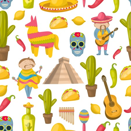 traditions: Mexican seamless background pattern with elements of traditions and attractions of the country vector illustration Illustration