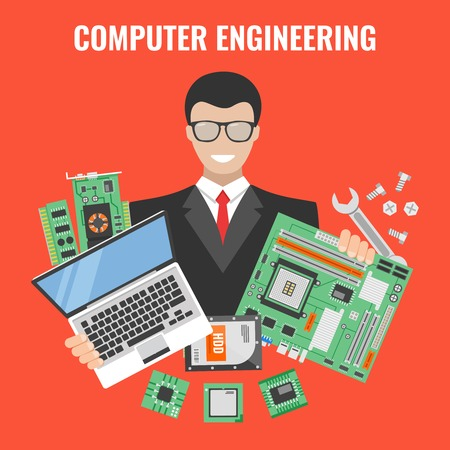 laptop repair: Computer engineering flyer with man in a suit with laptop and tools for repair vector illustration