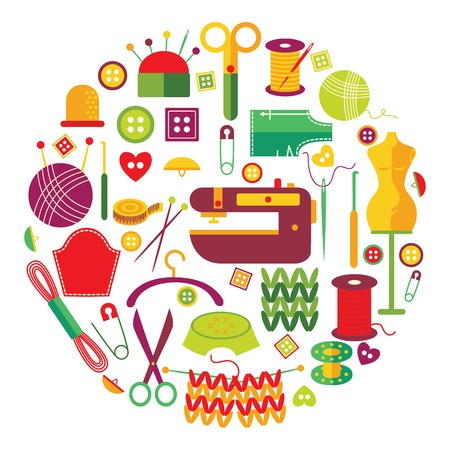 Needlework objects set in round shape with knitting and sewing tools embroidery hanger isolated vector illustration Illustration