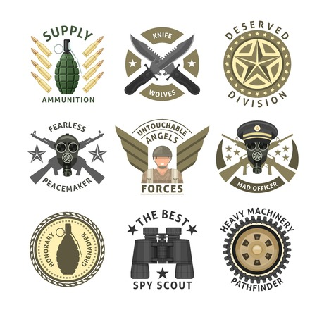 crawler: Military units emblems with crossed weapon ammunition respirator crawler wheel wings stars isolated vector illustration