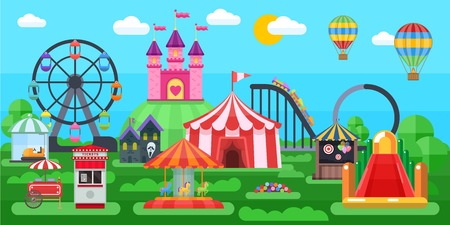 Amusement park panorama with circus tent extreme attractions inflatable slides on summer natural landscape background vector illustration