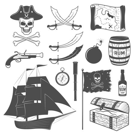 cocked hat: Pirates monochrome elements set with sailboat weapon flag telescope map rum chest cannon ball isolated vector illustration