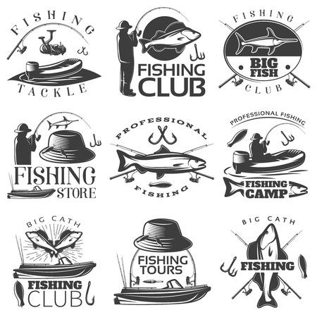 tackle: Fishing black emblem set with fishing tackle fishing club fishing store descriptions vector illustration
