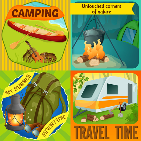 shore: Summer camping compositions with boat on river shore virginal nature tourist equipment travel time isolated vector illustration
