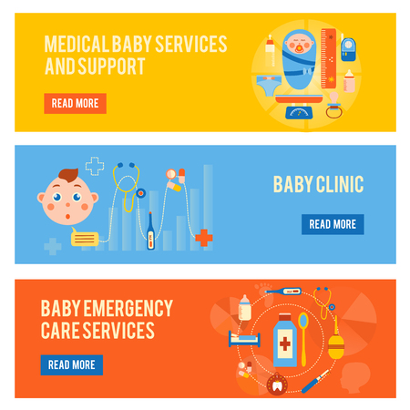 bottle of medicine: Baby health horizontal banners set with medical services and support childrens clinic emergency care isolated vector illustration