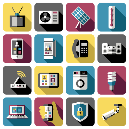 navigation buttons: Square isolated smart home icon set with attributes for easy life on colored background vector illustration Illustration