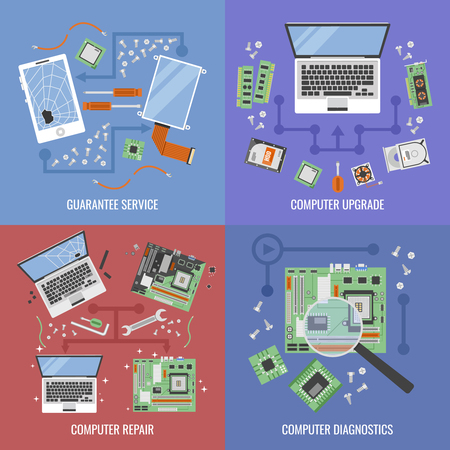 Computer service icon set with descriptions of guarantee service computer upgrade computer repair and diagnostic vector illustration Illusztráció