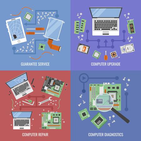 Icône de service informatique mis avec des descriptions de service de garantie de mise à niveau ordinateur réparation ordinateur et diagnostic illustration vectorielle Banque d'images - 60724235