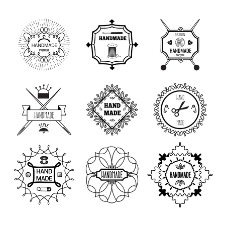 yarns: Handmade hipster style monochrome linear emblems with crossed needles pins yarns ornament of flourishes isolated vector illustration Illustration