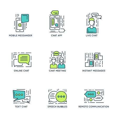 remote communication: Chat decorative linear icons with speech bubbles meeting mobile messenger online and remote communication isolated vector illustration Illustration