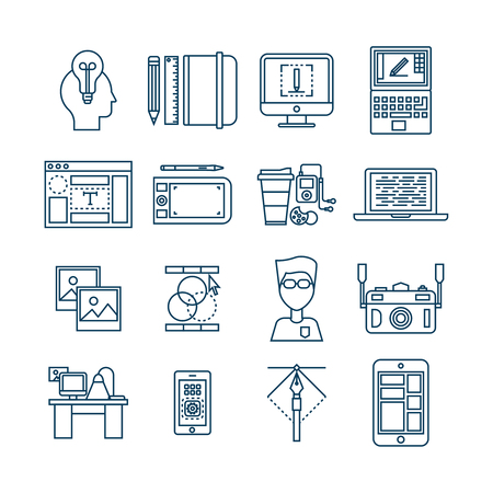 specialist: Web design linear icons with sketch plan desk photos specialist inspiration coding drawing gadgets isolated vector illustration