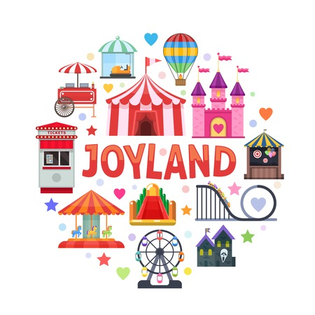 thrill: Amusement park round design with attractions ticket booth circus tent street food on white background vector illustration