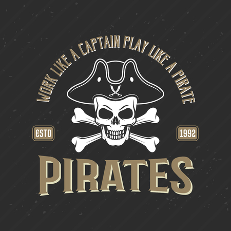 Logo of pirates print with jolly roger in cocked hat on black textural background vector illustration