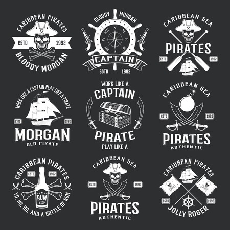 roger: Caribbean pirates monochrome emblems with helm ship pistol saber jolly roger on black background isolated vector illustration
