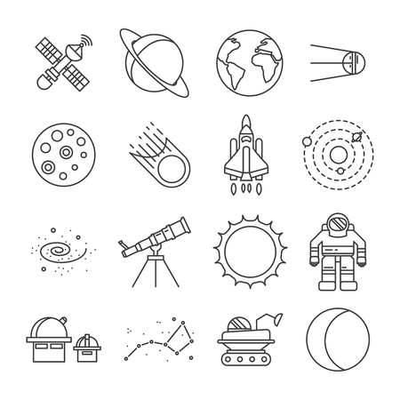 moon rover: Black and white space universe isolated icon set astronauts satellites moon mars rover space shuttle earth vector illustration
