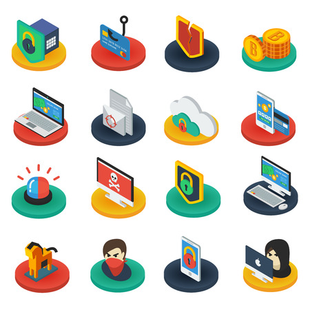 bases: Protection of digital information isometric icons on round bases with  shields antivirus padlocks gadgets isolated vector illustration