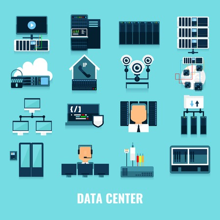 correctly: Flat icon datacenter icon set with different processes and equipment and tools for correctly work vector illustration