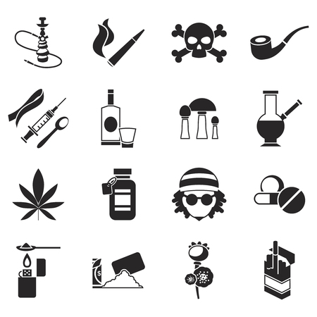 narcotics: Black isolated drugs icon set different types of narcotics light and hard vector illustration Illustration